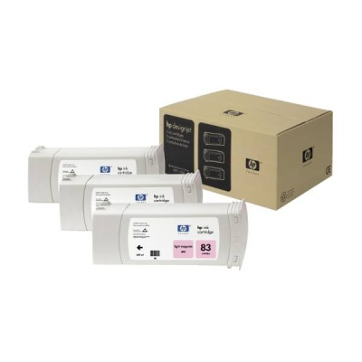 HP 83 Light Magenta UV DJ Ink Cart, 680 ml, 3-pack, C5077A