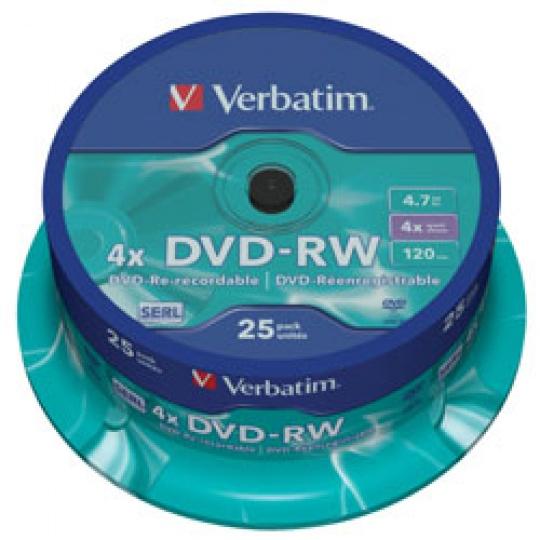 VERBATIM DVD-RW(25-pack)Spindle/4x/4.7GB