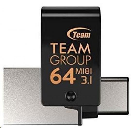 TEAM Flash Disk 64GB M181, USB 3.1 typ A, USB-C, OTG (prachotěsné, vodotěsné, nárazuvzdorné)