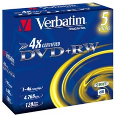 VERBATIM DVD+RW(5-Pack)Jewel/4x/DLP/4.7GB