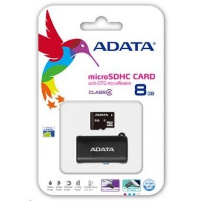 ADATA MicroSDHC karta 8GB Class 4 + OTG čtečka USB 2.0, microUSB