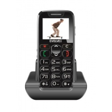 EVOLVEO EasyPhone, mobilní telefon pro seniory s nabíjecím stojánkem (černá barva)