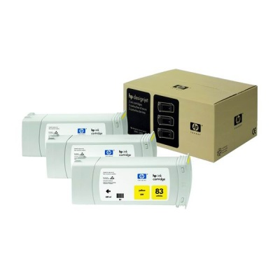 HP 83 Yellow UV DJ Ink Cart, 680 ml, 3-pack, C5075A